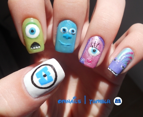 awesome, danimoreno, disney nails, monsters, nails