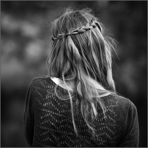 back, beautiful, black, black and white, blonde, braid, cute, fashion, girl, grey, hair, long hair, miley cyrus, model, photography