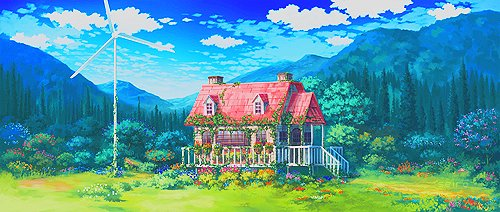 background, bush, cloud, clouds, cottage