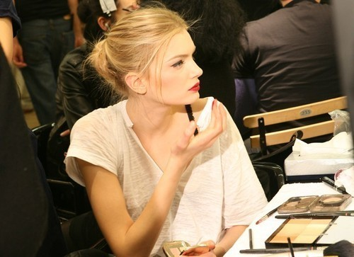 backstage, blond, dark lips, fashion, hair