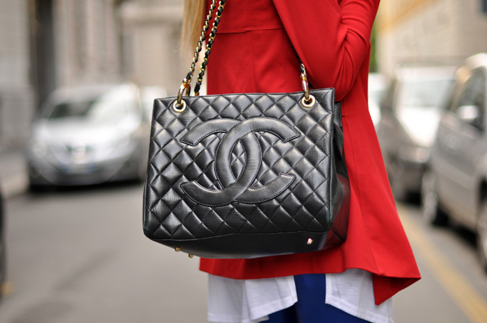 bag, black, blazer, blonde, chanel