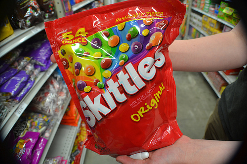bag, bonbon, bonbons, candy, green, orange, original, photography, purple, rainbow, red, skittles, taste the rainbow, yellow