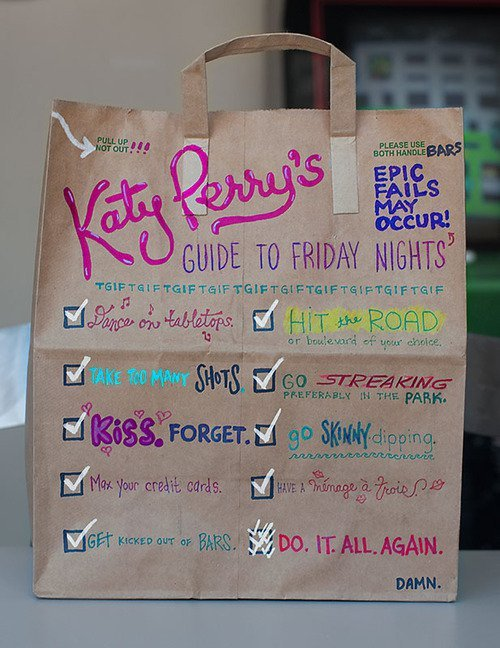 bag, katy perry, last friday night, love, lyrics, music, party, quote, text