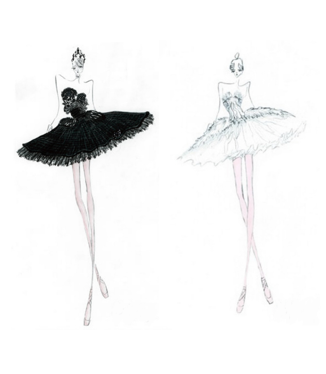 ballerina, ballerines, ballet, black swan, drawing