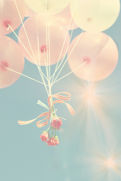 ballons, ballons pink sky, balloon, balloons, flowers