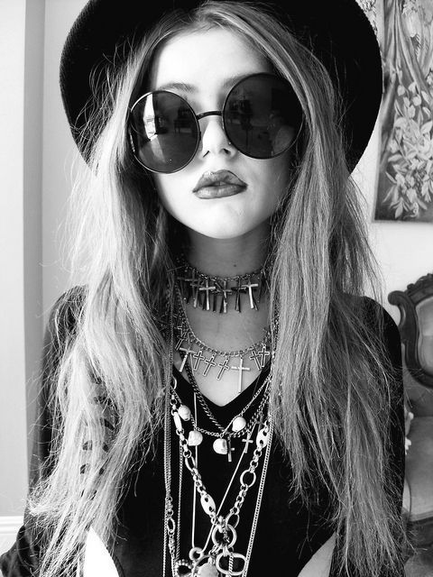 b&w, black and white, crucifix, fashion, girl, glasses, goth, hair, hat, hate, hippy, hipster, model, necklace, pretty, studs, style, sunglasses