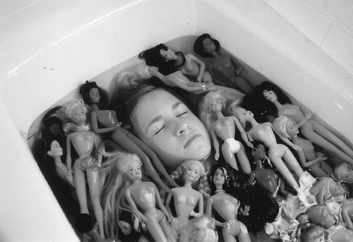 barbie, bath, black and white, creepy, dolls