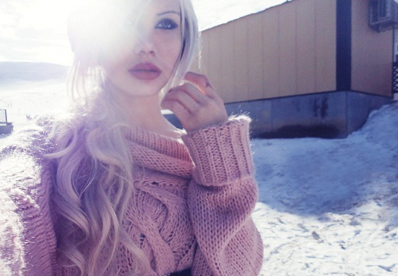 barbie, beautiful, blonde, cable sweater, christmas, cute, girl, makeup, snow, sun, sweater, winter