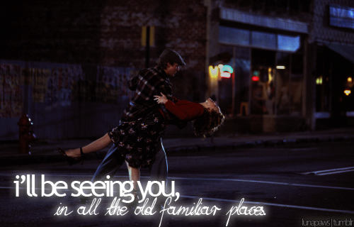 be seeing you, dance, dancing, distance, familiar, fate, great, kiss, lights, love, old, places, rachel mcadams, ryan gosling, story, street, summer, the notebook, true
