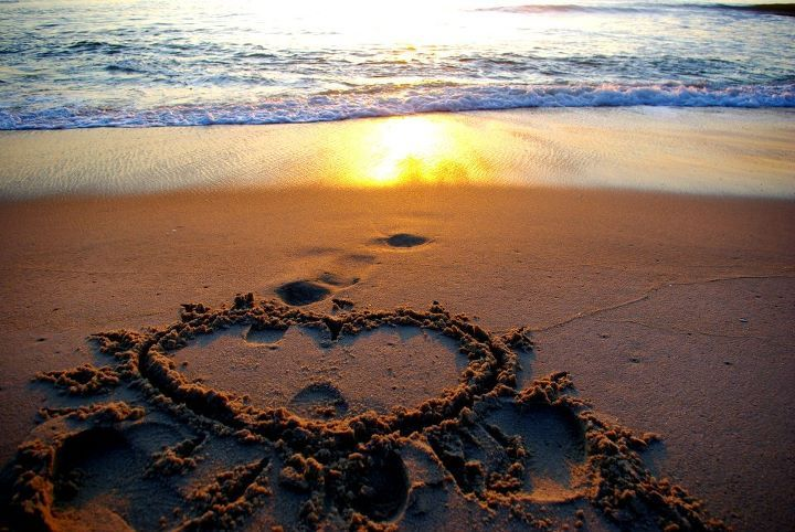 beach, beautiful, colors, heart, ocean