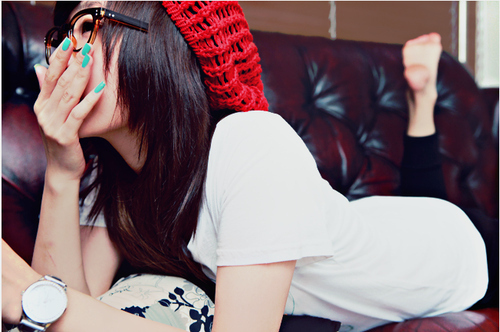 beanie, cute, girl and glasses