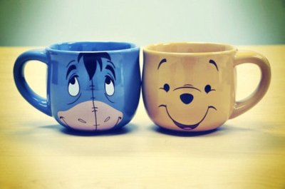 bear, blue, cups, cute, donkey, eeyore, winnie the poof, yellow