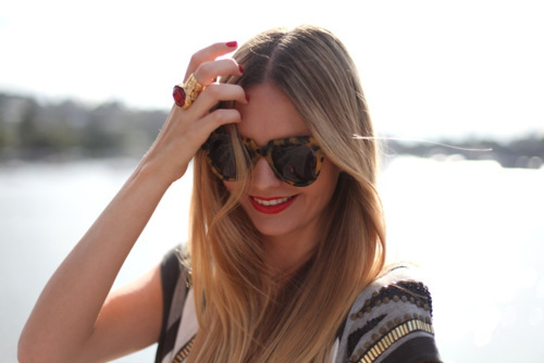 beautiful, beauty, blonde, cute, fashion, girl, hair, lipstick, perfect, smile, style, sunglasses, ysl ring