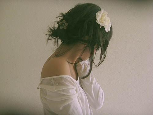 beautiful, beauty, bows, brown, brunette, flowers, girl, hair, image, life, photo, photography, white, woman