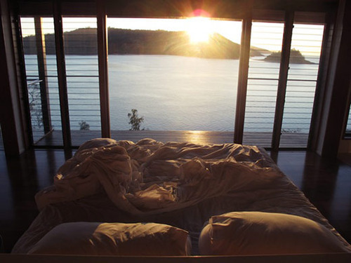 beautiful, bed, morning, sun, view