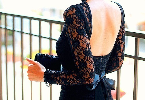 beautiful, black, bow, dress, elegant