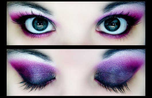 beautiful, black, eye, eyes, fashion, girl, ladypandacat, lashes, make up, makeup, marinelle, photography, pink, purple
