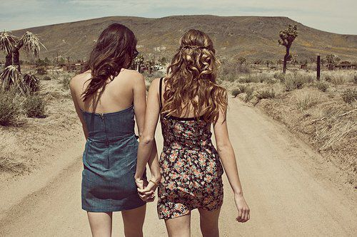 beautiful, blond, brown, cute, friendship, girls, hair, kiss, love, pretty