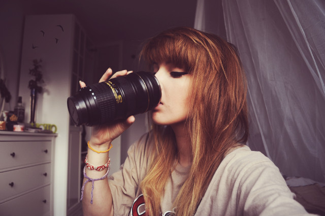 beautiful, camera, drink, eyeliner, eyes