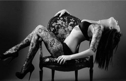 beautiful, chair, girl, hair, legs, lingerie, sexy, shoes, skinny, tattoo