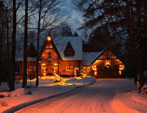 beautiful, christmas, cold, hut, lights