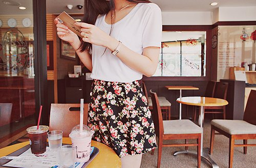 beautiful, clothes, drink, fashion, floral, outfit, pretty, skirt, style