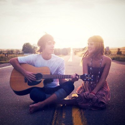 beautiful, guitar, hair, headband, hippy, hippys, listen, music, photography, road, sing, sun