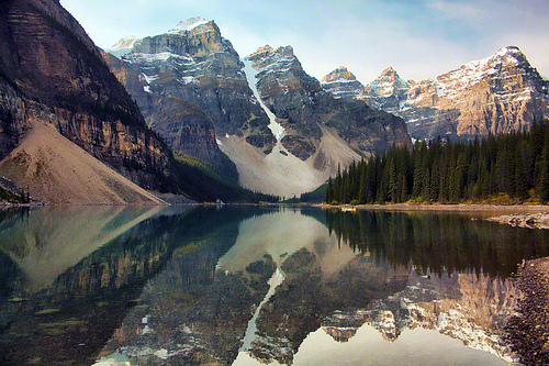 beautiful, lake louise, lights, mountains, nature, photography, sky, snow, trees, water, wild, wood