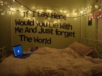 bed, cute, forget, lie, lyrics, quote, room, snow patrol, song, text, wall, words, world