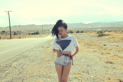 belt, black, black hair, blog, blooger, denim, denim shorts, fashion, girl, hair, nature, olivia lo, ponytail, pretty, road, shorts, slim, style, summer, sun, sunny, t-shirt, white