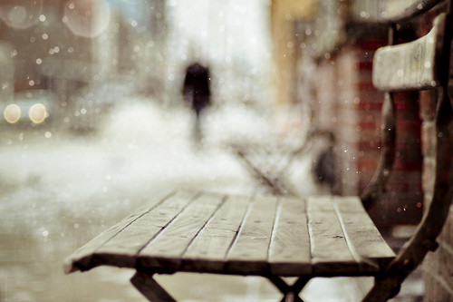 bench, christmas, city, street, village, winter
