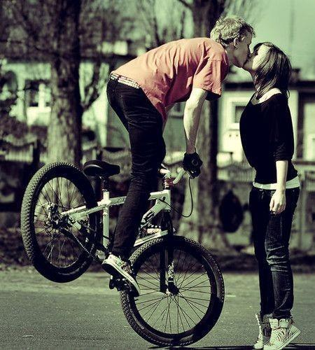 bicycle, boy, girl, love