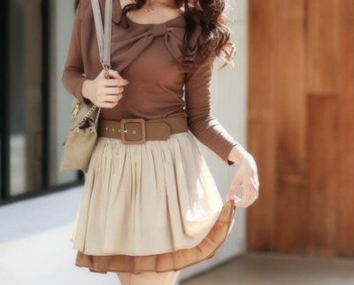 big belt, blouse, bow, brown, cute