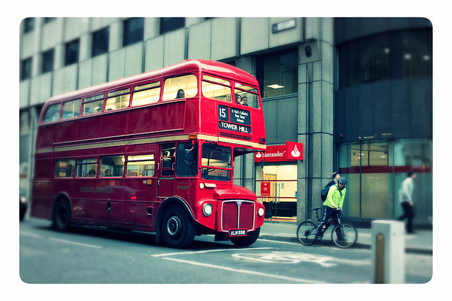 bike, double decker, england, london, red bus