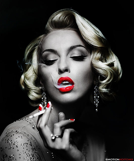 bitch, black and white, red lips, smoke, smoking