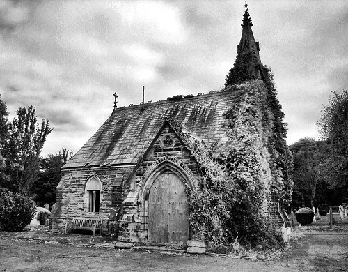 bizarre, black and white, church, dark, photography