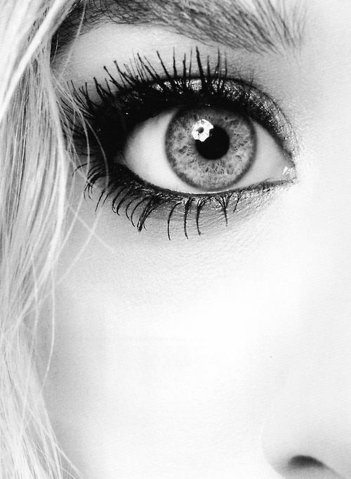 blac, black&white, eye, girl, gray