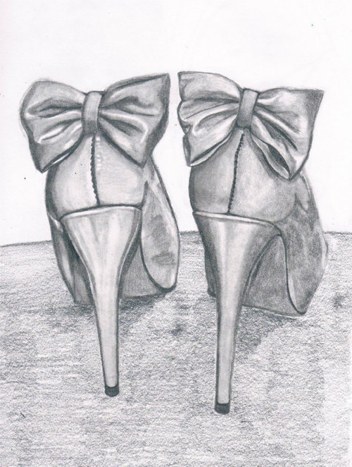 black and white, bow, bows, heels, high heels, illustration, pumps, ribbon, ribbons, shoes, sketch