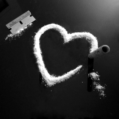 black and white, cocaine, drugs, heart