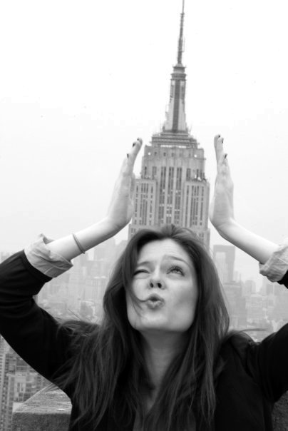 black and white, empire state building, fun, funny, girl