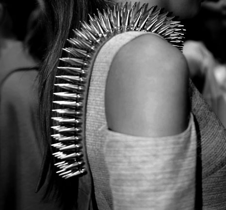 black and white, fashion, legit, shoulder, spikes