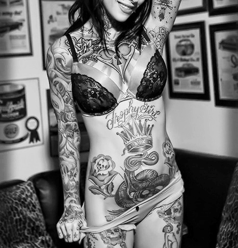 black and white, female, lingerie, roses, skulls, tattoo, tattooed, tattoos