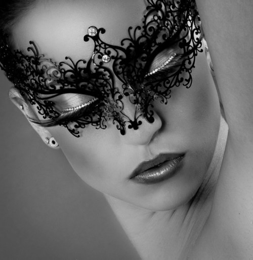 black and white, make up, mask, woman