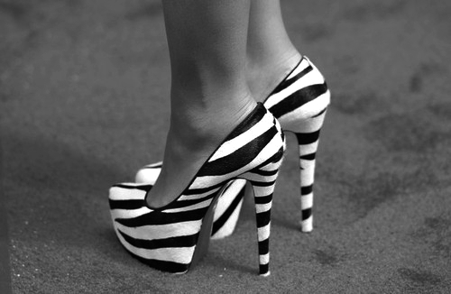 black, black and white, cute, grey, high heels, hot, sexy, shoes, white, zebra