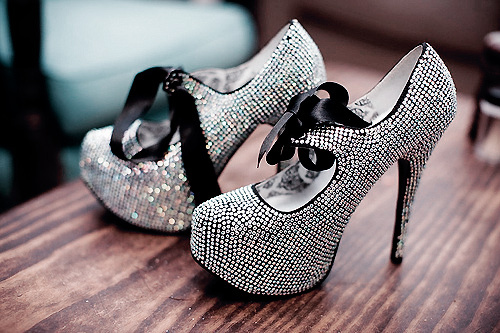 black, bling, diamond, diamonds, fashion, fashionable, heels, high heels, pumps, ribbon, rinestones, sexy, shoes, silver, style, stylish, wood