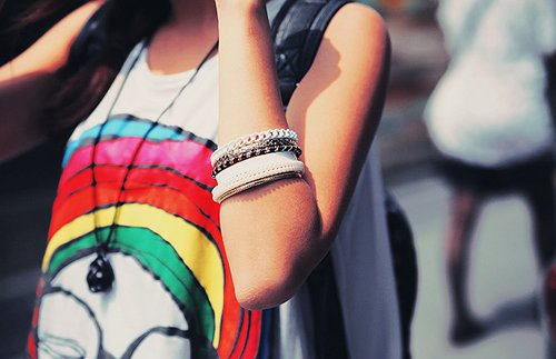 black, bracelet, fashion, girl, hair, necklace, rainbow, shirt, sleeveless, style, tanktop, top