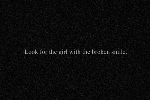 black, broken, fake smile, girl, grimace