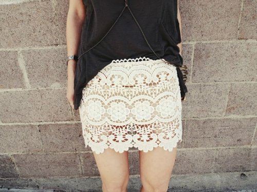 black, cream, fashion, girl, lace, photography, pretty, skinny, skirt, top