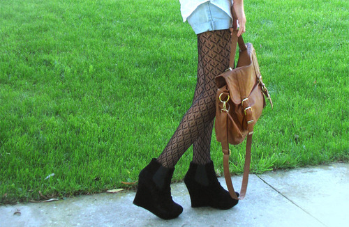 black, cute, fashion, grass, green, heels, leggings, wedges, legs, shoes