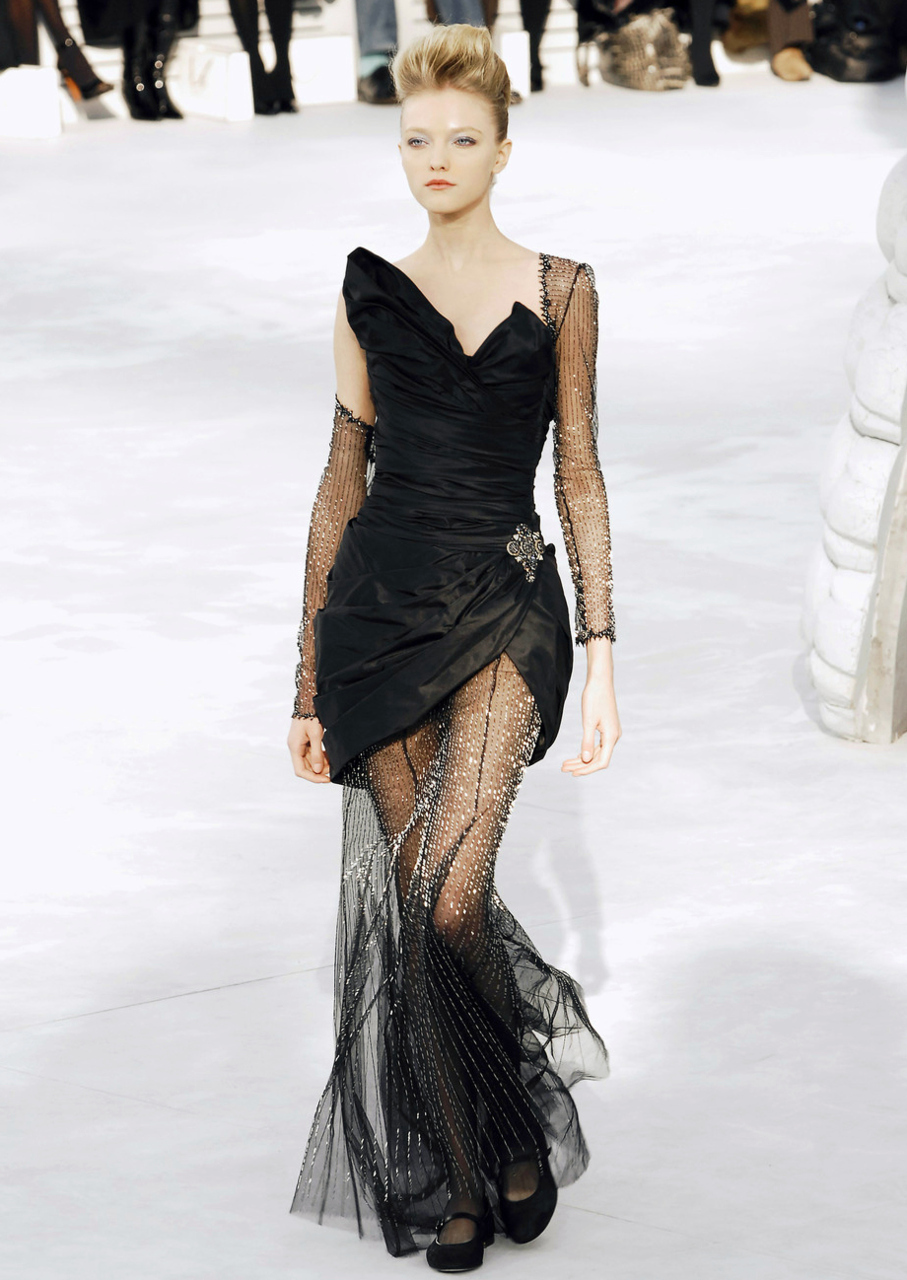 Chanel - Black Taffeta Dress - Embellished Chiffon. - I'd ...
